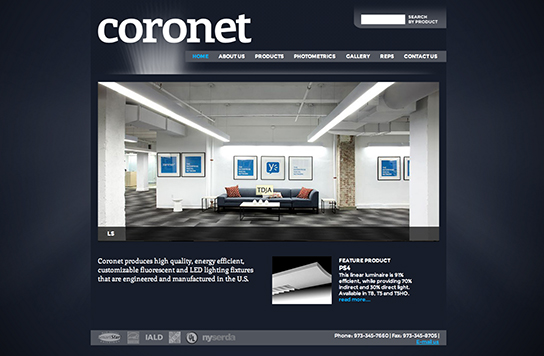 Coronet Inc Lighting NJ homepage